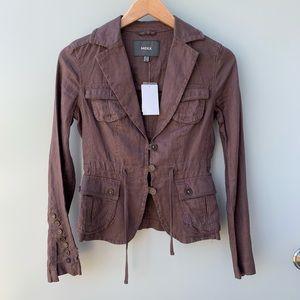 Mexx Linen Brown Button Suit Blazer Jacket NWT